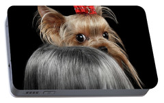 Closeup Yorkshire Terrier Dog, Long Groomed Hair Pity Looking Back Portable Battery Charger by Sergey Taran
