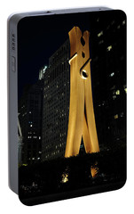 Clothespin At Night - Philadelphia Portable Battery Charger by Rona Black