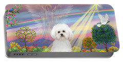 Cloud Angel And Bichon Frise Portable Battery Charger