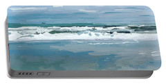 Cloud Reflections With Surfer And Tanker  Portable Battery Charger