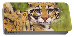 Portable Battery Charger featuring the painting Clouded Cat by Jamie Frier