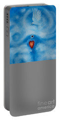Clouded Heart With Dove Portable Battery Charger