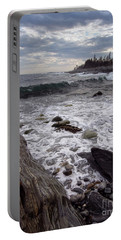 Portable Battery Charger featuring the photograph Clouds And Waves At Pemaquid Point, Bristol, Maine -60104 by John Bald