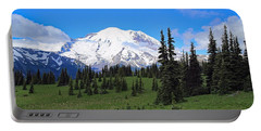 Portable Battery Charger featuring the photograph Clouds Clearing At Mount Rainier by Lynn Hopwood