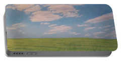 Clouds Over Green Field Portable Battery Charger
