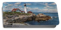 Clouds Over Portland Head Lighthouse Portable Battery Charger