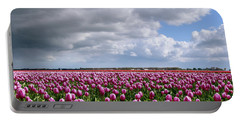 Clouds Over Purple Tulips Portable Battery Charger by Mihaela Pater