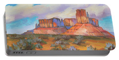 Portable Battery Charger featuring the painting Clouds Passing Monument Valley by Diane McClary