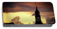 Portable Battery Charger featuring the photograph Cloudscape Of Orange Sunset Old Town Riga Latvia by Raimond Klavins