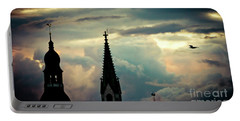 Cloudscape Sunset Old Town Riga Latvia Portable Battery Charger