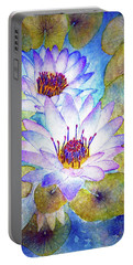 Cloudy Blue Lilies Portable Battery Charger