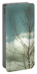 Cloudy Blue Sky Through Tree Top No 2 Portable Battery Charger by Ben and Raisa Gertsberg