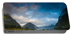 Cloudy Morning At Milford Sound At Sunrise Portable Battery Charger