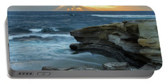 Cloudy Sunset At La Jolla Shores Beach Portable Battery Charger