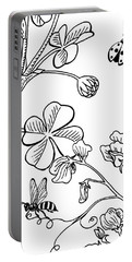 Clover Sweet Pea Ladybug And Bee Drawing Portable Battery Charger