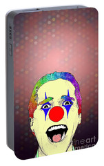 Portable Battery Charger featuring the drawing clown Christian Bale by Jason Tricktop Matthews