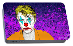 Portable Battery Charger featuring the drawing Clown David Bowie by Jason Tricktop Matthews