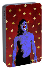 Portable Battery Charger featuring the drawing Clown Iggy Pop by Jason Tricktop Matthews