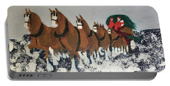 Portable Battery Charger featuring the painting Clydsdale Horses Bringing Home The Tree by Donald J Ryker III