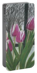 Portable Battery Charger featuring the drawing C'mon Spring by Arlene Crafton