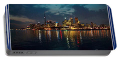 Cn  Tower And Toronto Down Town Water Front Beauty At Night Full Blast Photo Portable Battery Charger