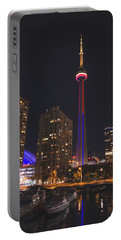 Cn Tower Toronto From Marina At Night Portable Battery Charger