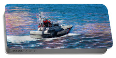 Portable Battery Charger featuring the photograph Coast Guard Out To Sea by Aaron Berg