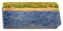 Portable Battery Charger featuring the painting Coastal Dunes - Square by Michelle Calkins