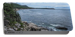 Coastal Landscape From Ocean Path Trail, Acadia National Park Portable Battery Charger
