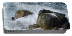 Coastal Rocks Trap Water Portable Battery Charger by Margaret Brooks