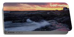 Portable Battery Charger featuring the photograph Coastal Sunset, Cape Neddick, York, Maine  -21056-v2 by John Bald