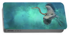 Coasting Blue Heron Bird Art Portable Battery Charger by Jai Johnson