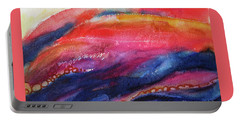 Portable Battery Charger featuring the painting Coatings And Deposits Of Color by Kathy Braud
