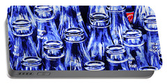 Coca-cola Coke Bottles - Return For Refund - Square - Painterly - Blue Portable Battery Charger