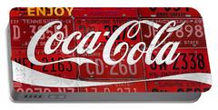Coca Cola Enjoy Soft Drink Soda Pop Beverage Vintage Logo Recycled License Plate Art Portable Battery Charger