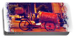 Portable Battery Charger featuring the photograph Coca Cola Tricycle Bin - Lima by Mary Machare