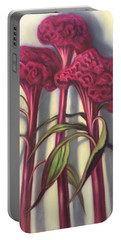 Portable Battery Charger featuring the painting Cockscombs by Randol Burns