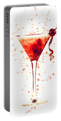 Cocktail Drinks Glass Watercolor Red Portable Battery Charger