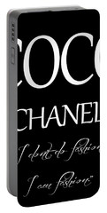 Coco Chanel Quote Portable Battery Charger by Dan Sproul