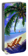 Coconut Palm Portable Battery Charger by David  Van Hulst