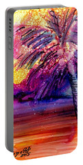 Portable Battery Charger featuring the painting Coconut Palm Tree 2 by Marionette Taboniar