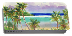 Coconut Palms And Lagoon, Aitutaki Portable Battery Charger