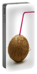 Coconut With A Straw Portable Battery Charger