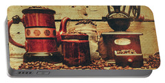 Coffee Bean Grinder Beside Old Pot Portable Battery Charger