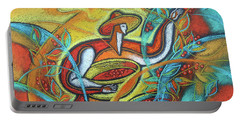 Portable Battery Charger featuring the painting Coffee Bean Harvest by Leon Zernitsky