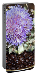 Coffee Beans And Blue Artichoke Portable Battery Charger