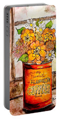 Portable Battery Charger featuring the painting Coffee Can Bouquet  by Monique Faella