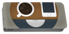 Coffee Poster Print - It's Coffee O'clock Portable Battery Charger