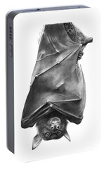Portable Battery Charger featuring the drawing Coffie The Fruit Bat by Abbey Noelle
