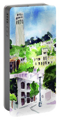 Coit Tower From The Embarcadero Portable Battery Charger by Tom Simmons